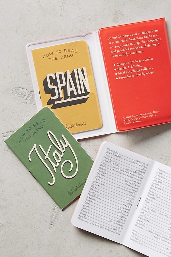 Read the menu booklets -- great gift idea for anyone visiting Europe soon. Included in the Gift Guide for Europe Travelers.