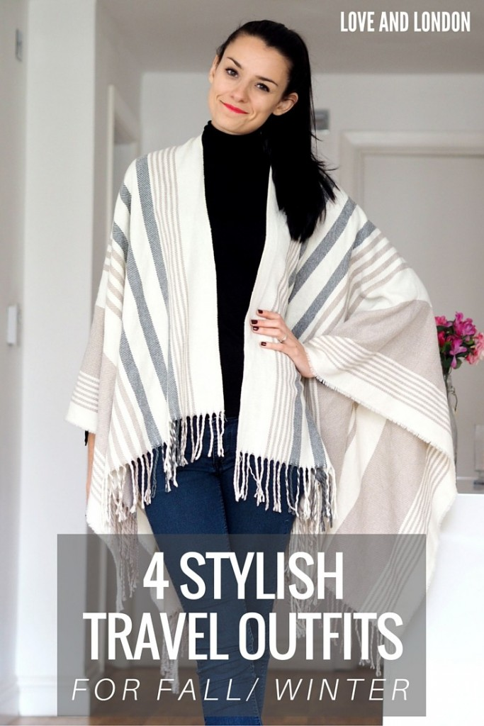 4 Stylish Travel Outfits for Fall + Winter - no need to look messy while traveling in the fall/winter. These stylish outfit ideas are perfect for traveling in the cold-weather months, they'll keep you warm on the airplane or train while also being comfy and stylish.