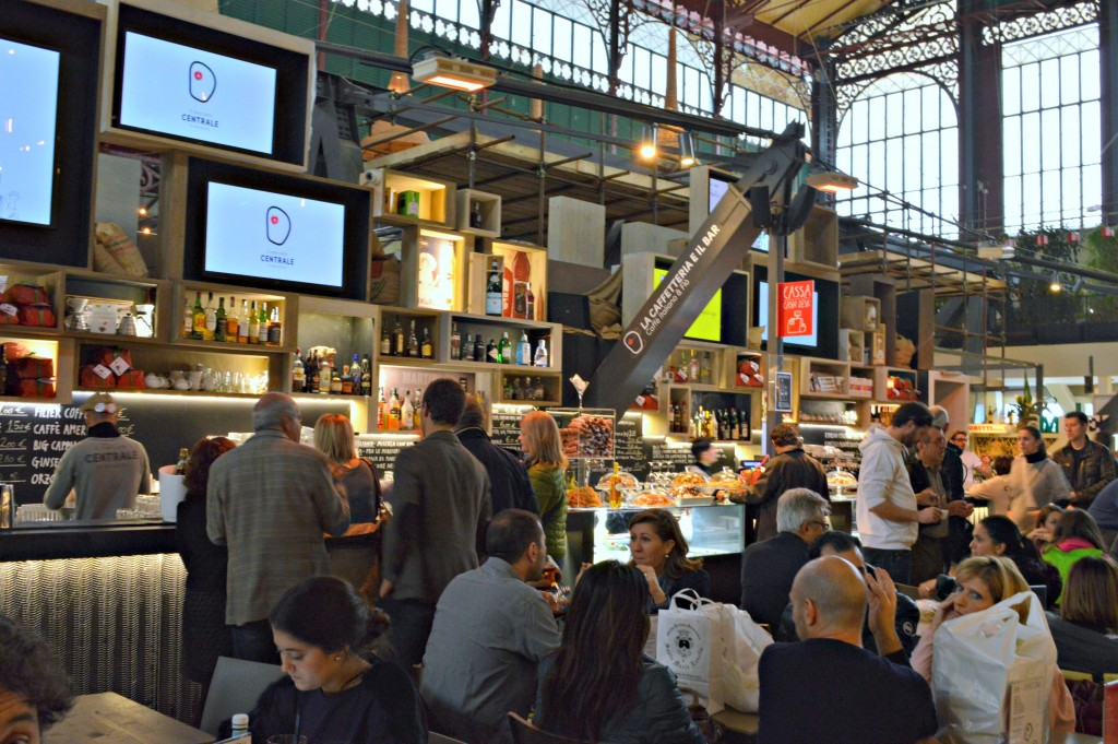 Upstairs food court of Mercato Centrale in Florence