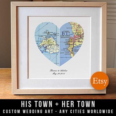 Custom Heart Maps on Etsy