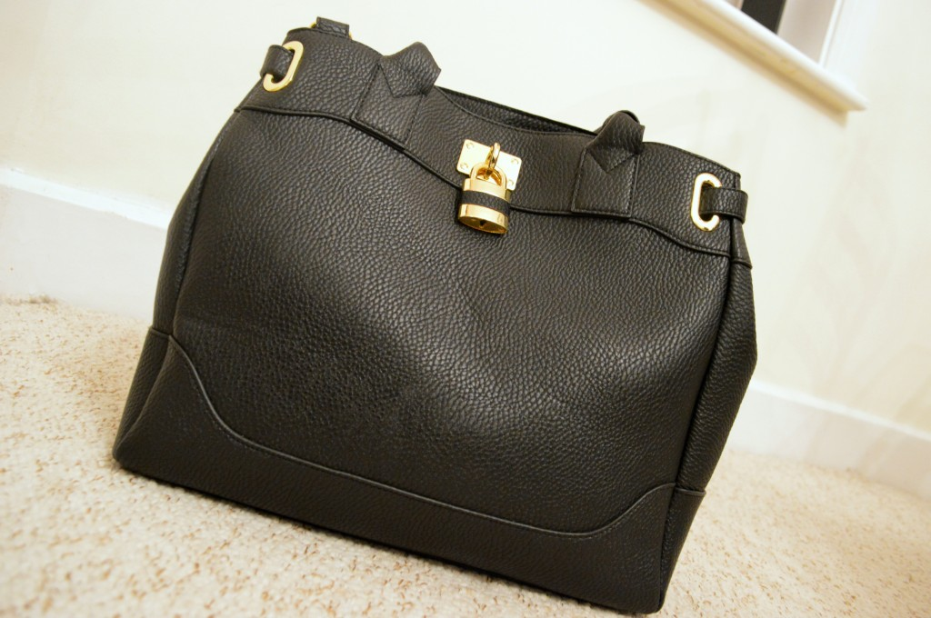 black asos leather bag
