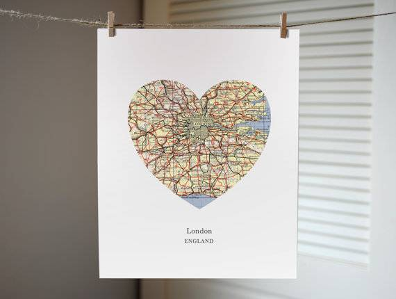 This London Map Heart Print is a great Valentine's day gift idea or a great gift for someone who just loves London. Click the image to see more London-themed items on Etsy.