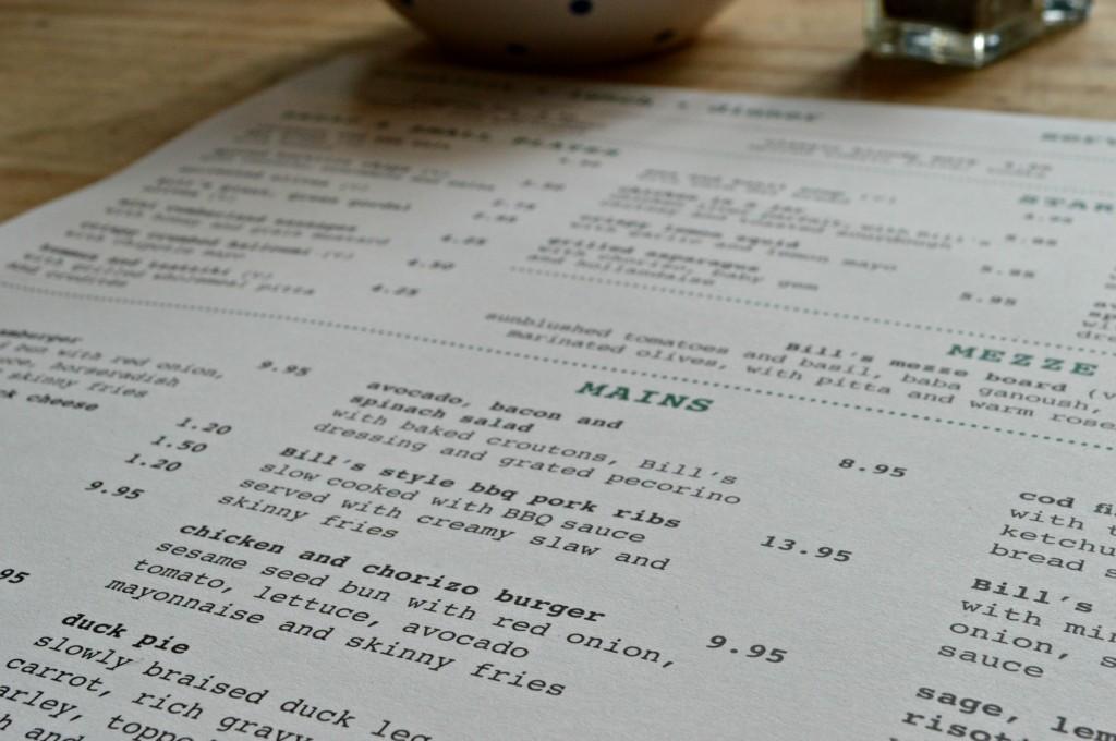 menu Bill's brighton