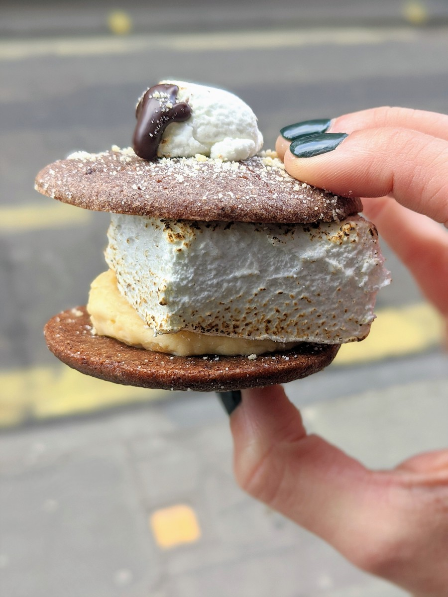 A Biskie is a sandwiched dessert that's essentially a cross between a cake and a cookie and is filled with cream or other ingredients. You can find Biskies only at Cutter and Squidge