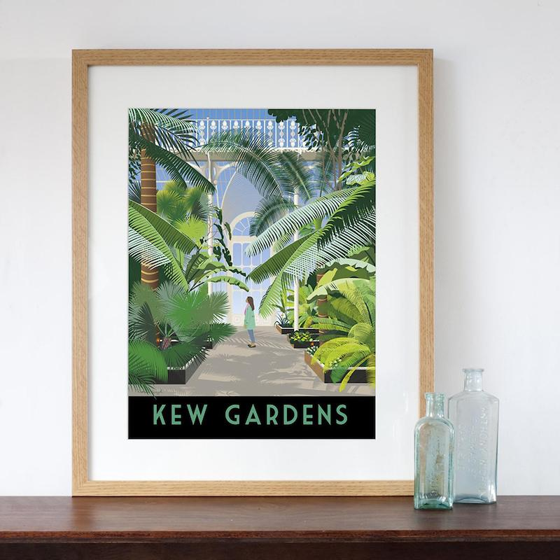 Best gifts for those who love london and gardens - Kew Gardens Palm House London Retro Style Art Print