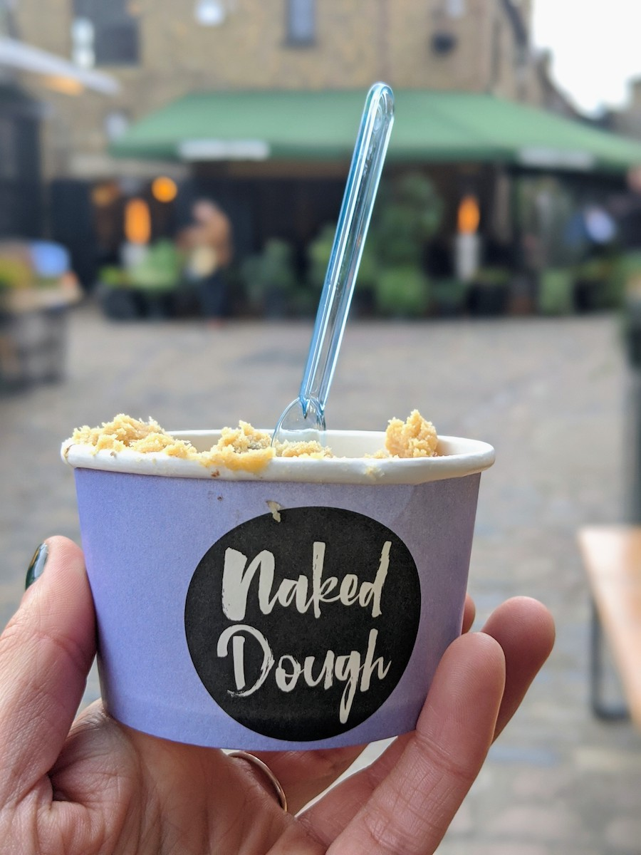 If you've ever wanted to eat raw cookie dough while baking, then head to this Camden Market stall called Naked Dough. You can get yummy, safe-to-eat cookie dough, complete with vegan options.