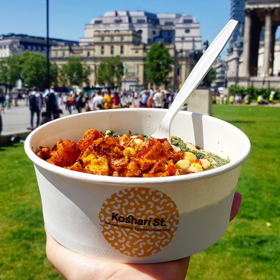 Koshari is Egypt's national dish and a popular street food. The dish's base is chickpeas and pasta, topped with meats, vegetables and sauces. Koshari Street brings all the flavours of Cairo to Covent Garden.