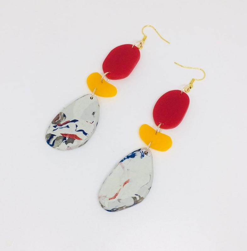 London-inspired jewelry to gift a London lover - Statement Recycled Oval Stones Earrings, Drop Earrings, Yellow, Red by Enna Jewellery