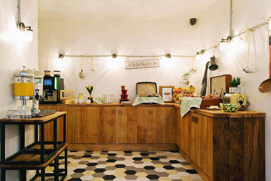 "If you're keen to have a kitchen, you could opt for a hostel with kitchen access. When doing your search on Hostelworld, choose the filter ""self-catering facilities"" and you'll see only the hostels with kitchens that guests are welcome to use. Rent a bed if you're on a budget or go for a private room if you don't want to share with strangers."