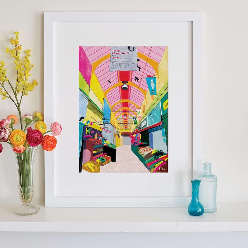The best London Art to present to people who love Britain - Brixton Market Art, Colourful Neon London Print