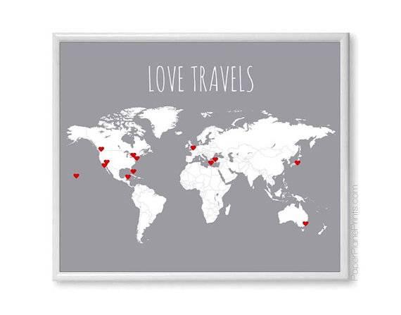 9 love travel diy map - Wedding Gift Ideas